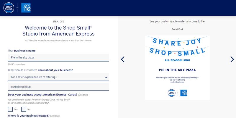 A screenshot of American Express's Shop Small studio for creating marketing materials.
