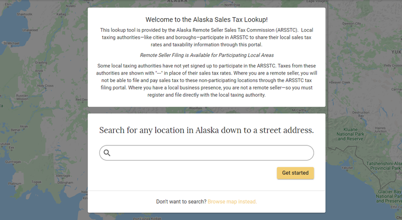 Screenshot of Alaska's sales tax lookup tool.