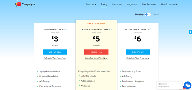 Zoho Campaigns pricing screen showing three different pricing tiers.