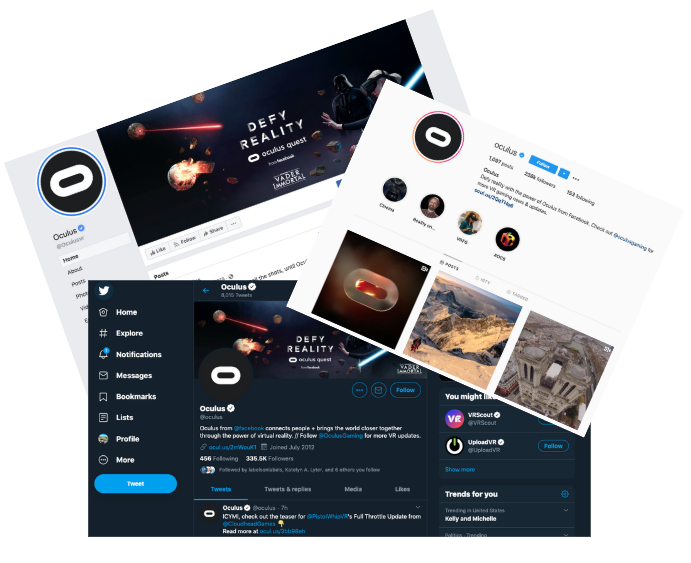 A screenshot of Oculus branding on Twitter.