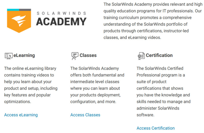 SolarWinds Academy offers e-learning, training classes, and certifications for IT professionals.