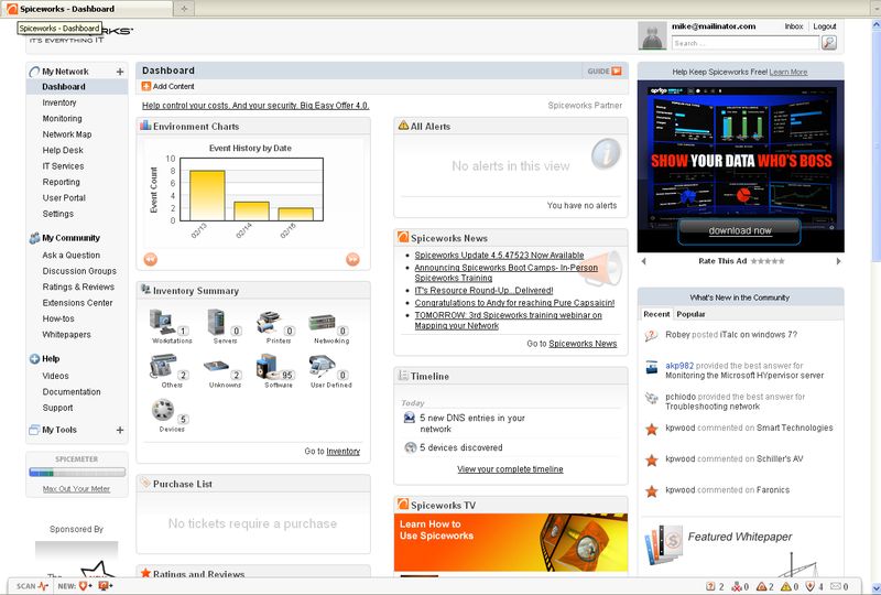 The main Spiceworks dashboard consists of a left-hand navigation menu, content modules, and advertisements.