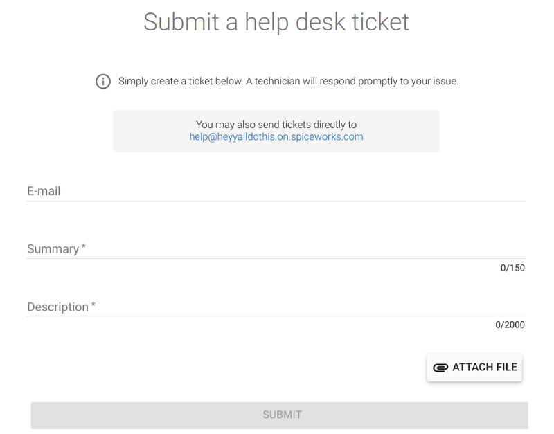 The help desk ticket submission form contains three fields: user email, issue summary, and expanded description and can also include attachments.