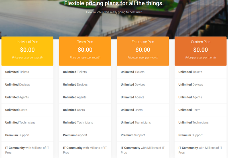 The Spiceworks pricing chart has four plans — personal, team, enterprise, and custom — all of which are completely free.