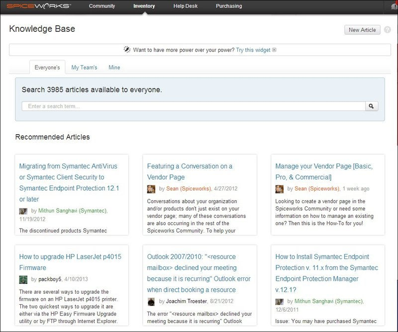 Search all articles in the Spiceworks knowledge base, those by your team, or your own personal ones and also see recently recommended articles.