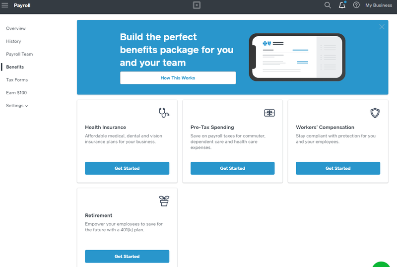 A screenshot of Square Payroll's tool for offering benefits to employees