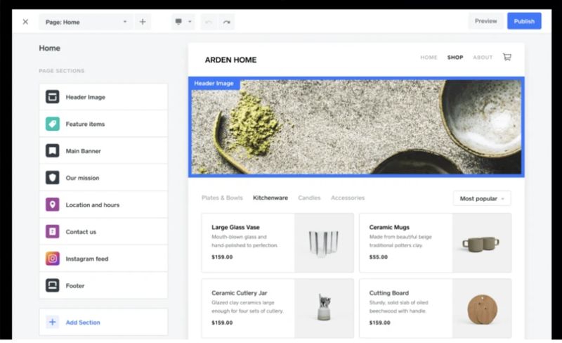Square's website builder with a list of sections to add on the left-hand side and a header image at the top