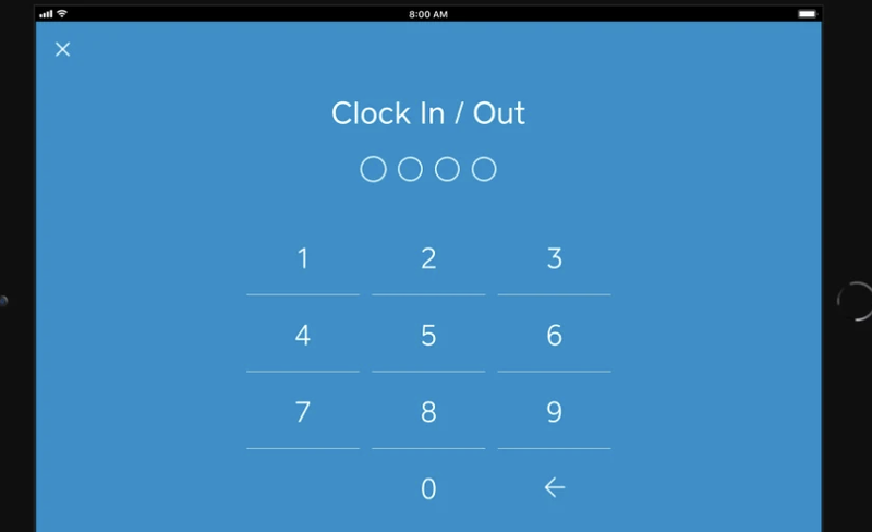 The time-clock tool in Square for Retail with the numbers 0 through 9 centered in the screen
