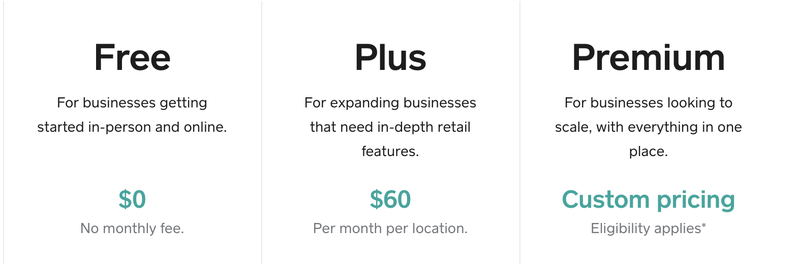 A quick rundown of the three pricing options that Square for Retail provides