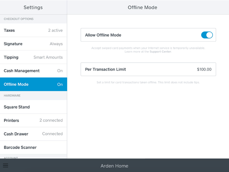 A screenshot of Square POS' offline mode for accepting credit cards swiped payments without internet.
