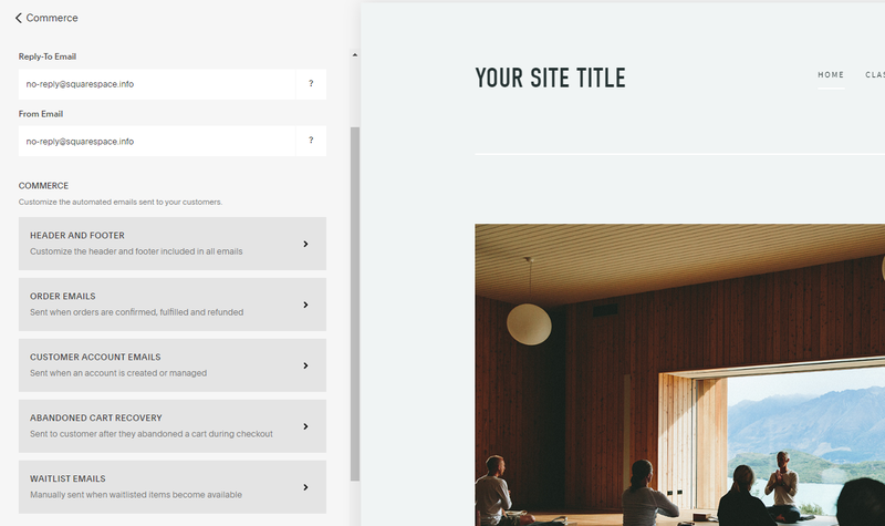Squarespace commerce setup options with fields to update information for commerce emails.