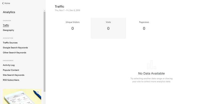 Squarespace analytics view with options to view data on traffic volume, traffic acquisition, engagement, etc.