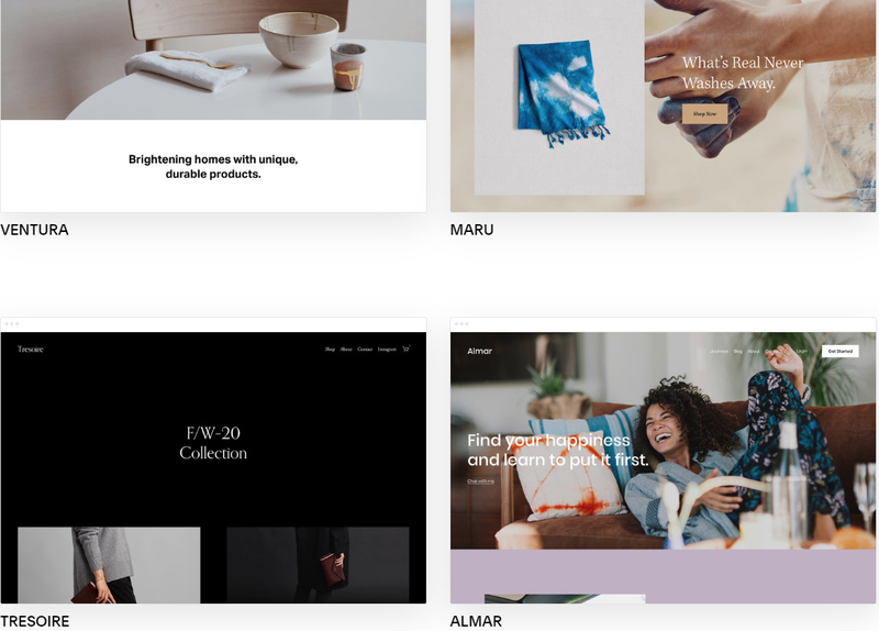 Squarespace Commerce theme page showing previews of different themes.