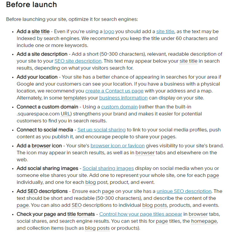 Squarespace Commerce bulleted list of SEO optimization tips for before launching website.
