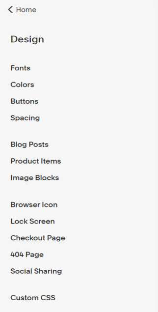 Squarespace Commerce design toolbar with list of different styles to edit.