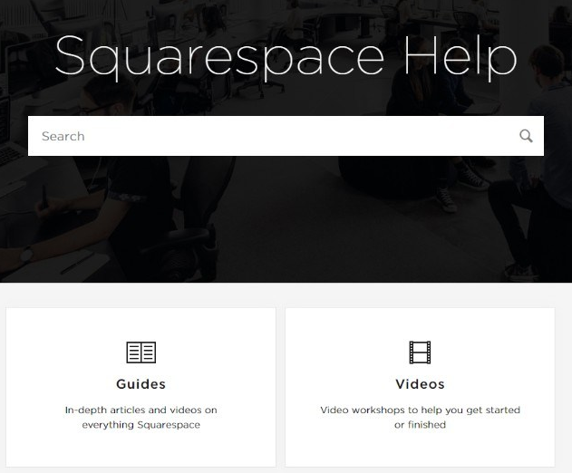 Squarespace Commerce Help page with a search bar and shortcuts to guides and videos.
