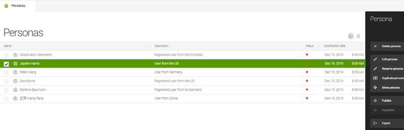 Screenshot of Magnolia's personas dashboard