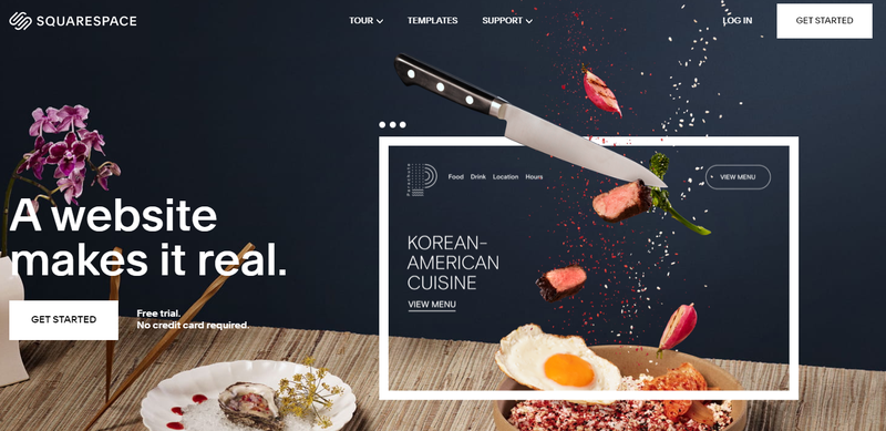 Squarespace home page with prompts to sign up.