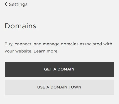 Squarespace prompt to buy a domain or connect one you already own.