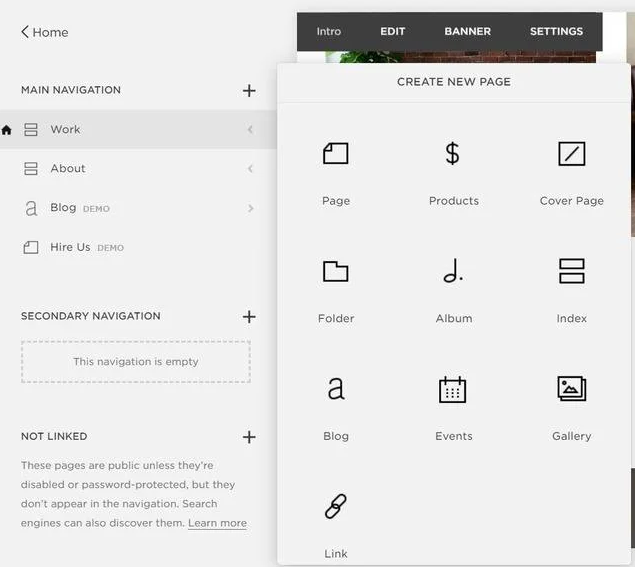 Squarespace option to add a page with a widget to select page type, such as products, cover page, blog, etc.