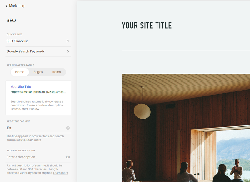 Squarespace SEO options screen in a lefthand menu with options to visit tutorials, view search appearances, title format, etc.