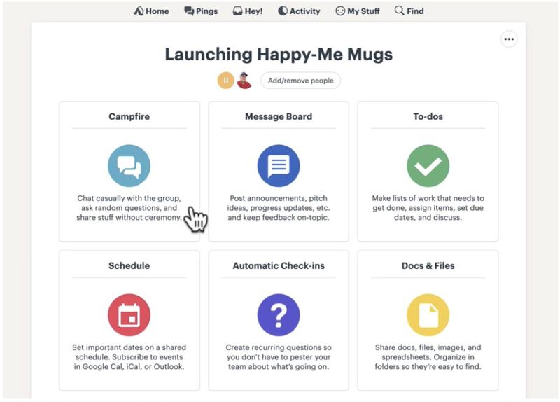 Screenshot of Basecamp dashboard