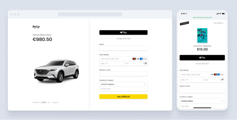 Screenshot of Stripe Payments' checkout options when processing online payments.