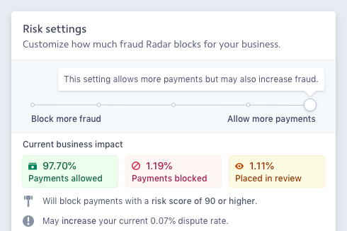 A screenshot of Stripe Payments' fraud protection services called Stripe Radar.
