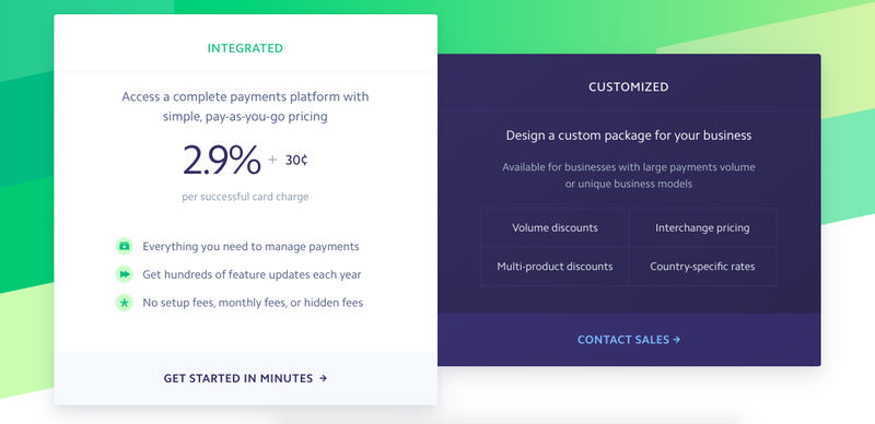 Screenshot of Stripe Payments' standard fees for processing credit card transactions.