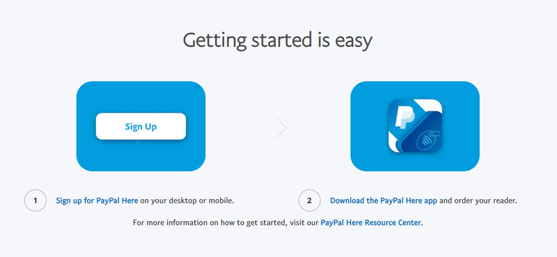 A screenshot of PayPal's two-step startup process.