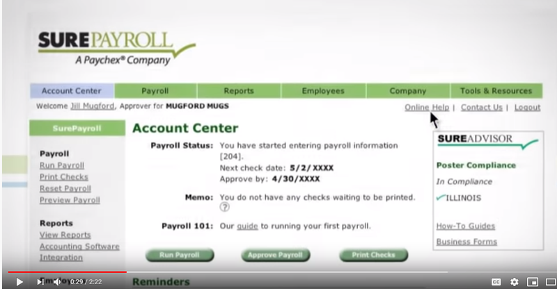 SurePayroll dashboard with payroll status, next check date, memos, and link to a help desk.