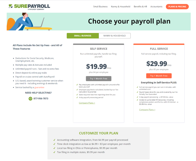 A comparison of SurePayroll's two pricing plans.