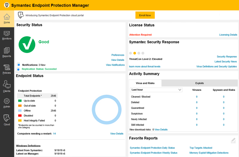 The main Symantec Endpoint Protection dashboard shows key aspects of your IT security.