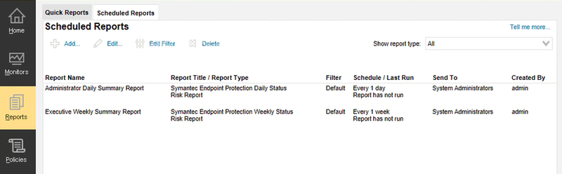 The Symantec reporting portal includes a separate tab for scheduled reports.