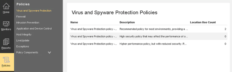 The Policies screen provides several options to set and manage security policies.