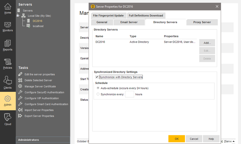 Symantec Endpoint Protection's Admin section shows server properties for configuring server security.