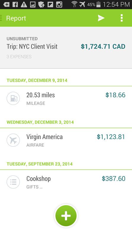 Tallie's mobile app displaying an expense report.
