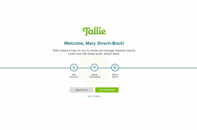 The Tallie welcome screen with a tutorial available.