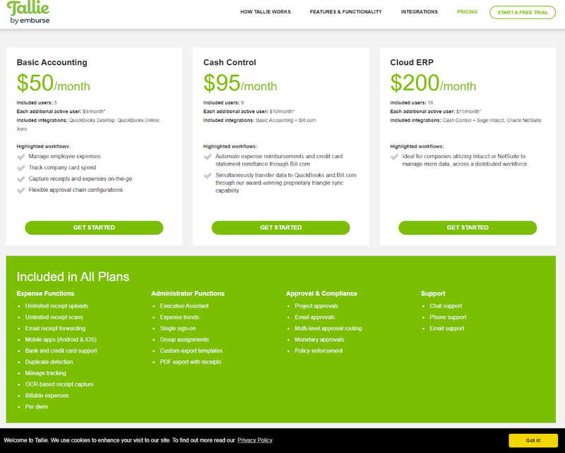 A screenshot of Tallie's plans and pricing levels.