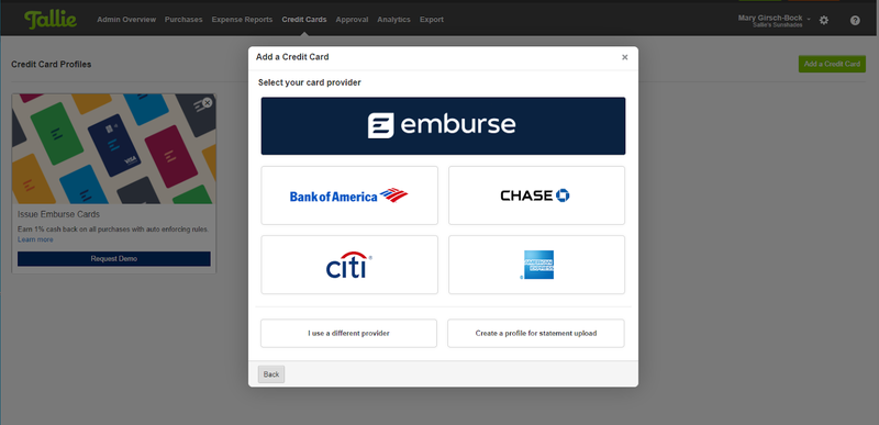 Tallie's options to add a credit card, including bank names.