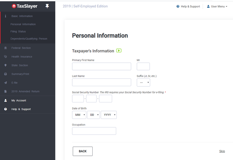 TaxSlayer vertical navigation bar on the left and a form to enter in personal information on the right.