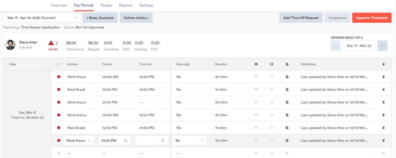 Screenshot of Zenefits' TimeKeeper report page showing employee hours and breaks.