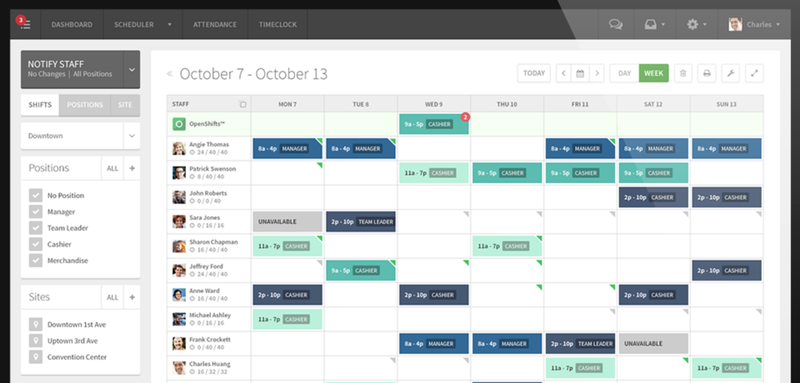 When I Work Scheduling Screen