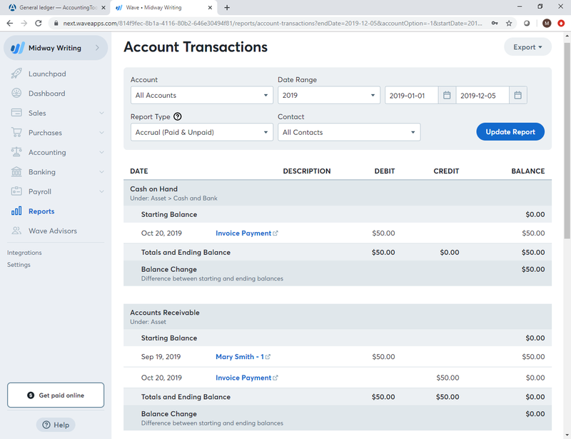 Accounting Terms: General Ledger (G/L) is a complete record of all of your accounting transactions. This Wave Accounting screen shows an account transaction report including cash on hand and accounts receivable.