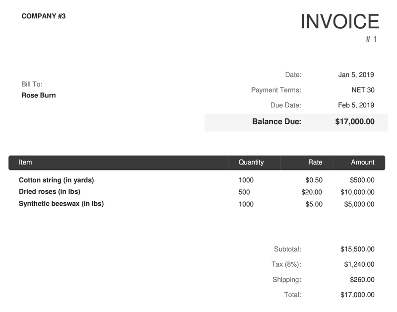 An invoice showing three direct material expenses totaling $17,000, inclusive of $1,240 in tax and $260 in shipping.