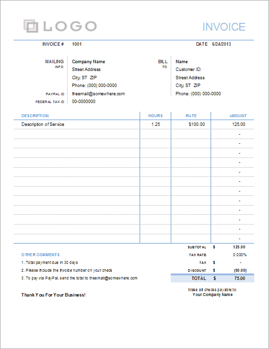 A sample invoice for services, including hours and unit pricing.