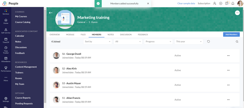 Zoho People lets you track training