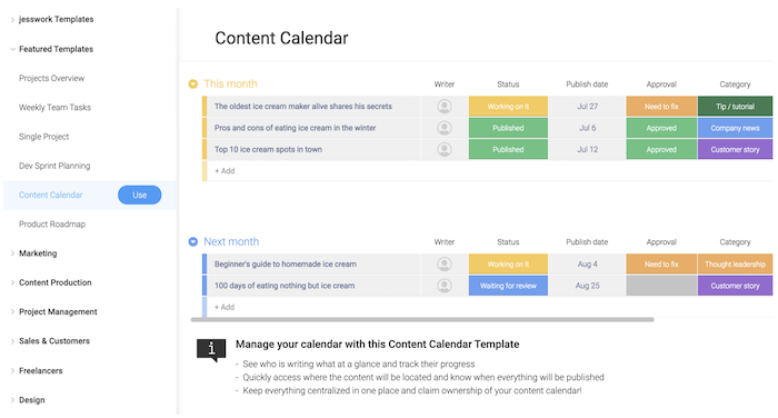 monday.com's grid view project template breaks out tasks, assigned personnel, and due dates.