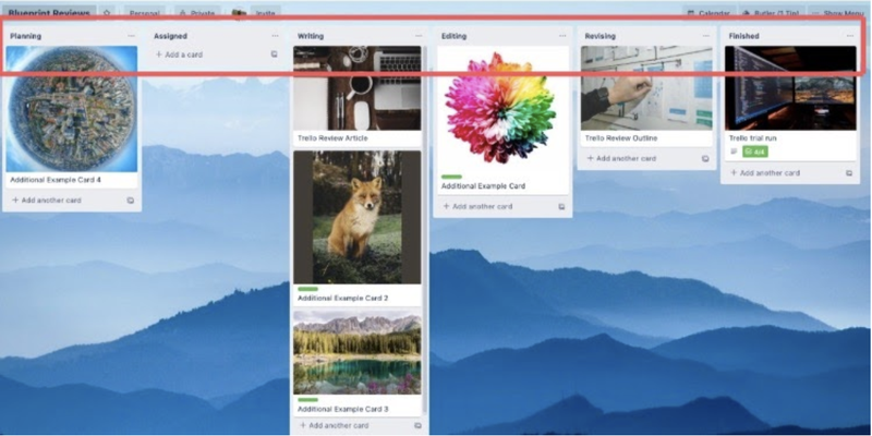 Trello project management example showing different fields for tasks with a red box highlighting the names of the fields.