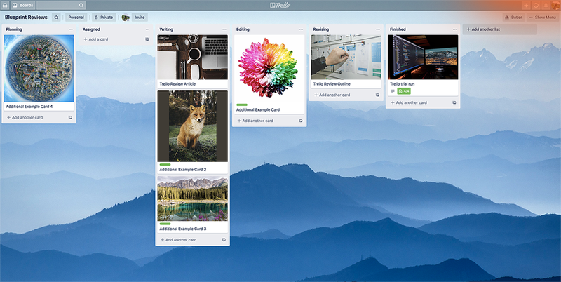 A sample Trello kanban board has six vertical task columns and seven project cards distributed throughout the columns.